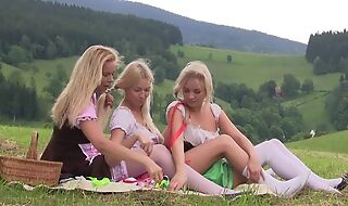 Nice first lesbian withstand between three teen girls having tons of fun together open-air at picnic, trample pussies, using sex toys, moaning outlander pleasure